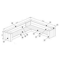 bouwtekening steigerhouten hoekbank
