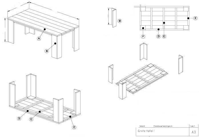 Steigerhouten tafel maken een bouwtekening vind je hier for Steigerhouten tafel met steigerbuizen zelf maken
