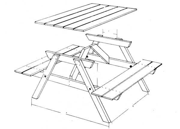 Picknicktafel maken